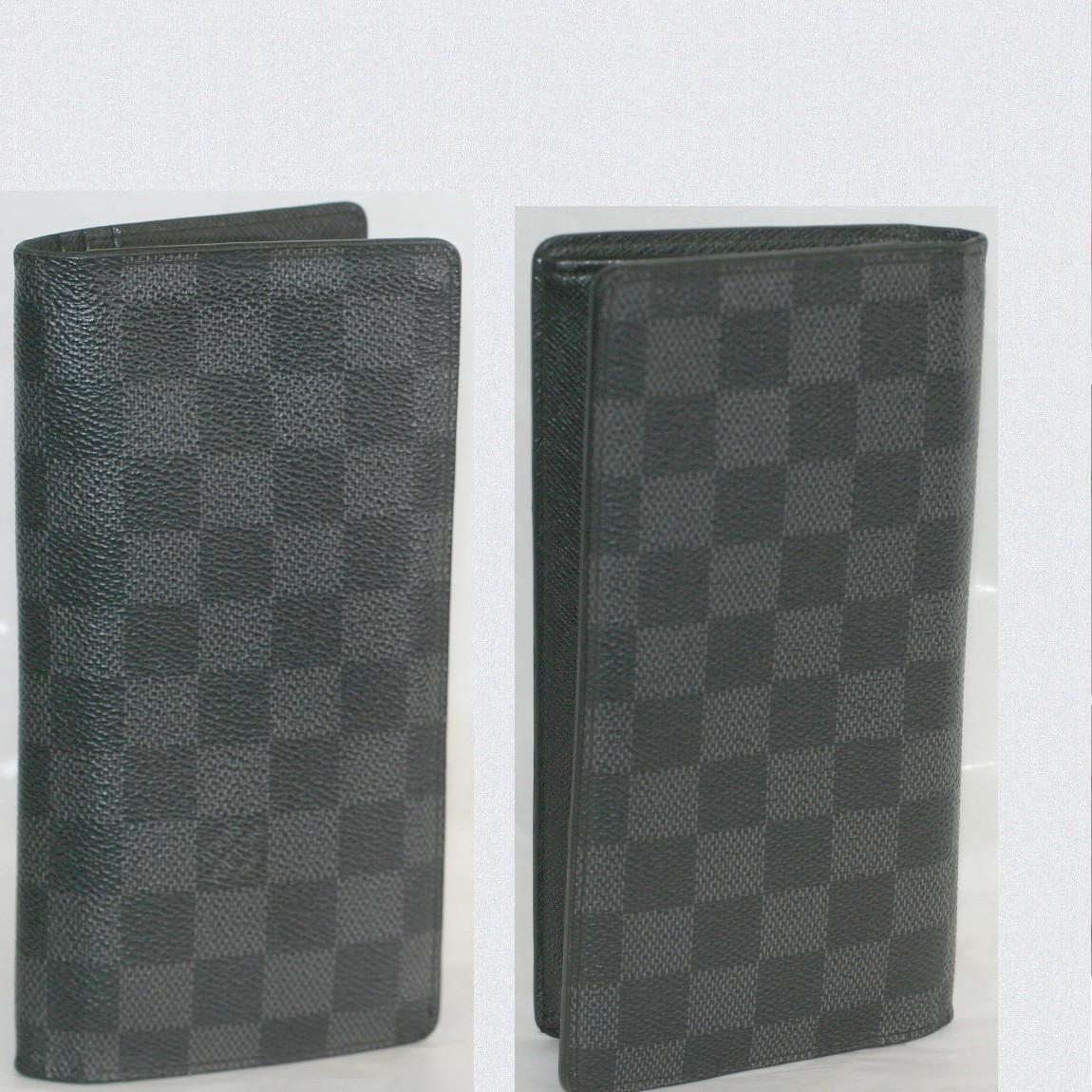 【中古】本物綺麗L/Vダミエグラフィット紳士用ファスナーつき長財布N62665ポルトフォイユ・ブラザ