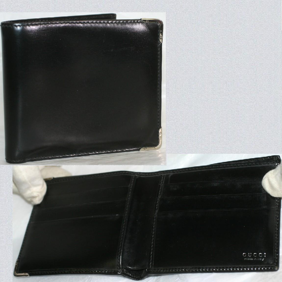 【中古】本物抜群に綺麗グッチ紳士用2つ折り財布黒いマスターカーフ素材 お勧めです
