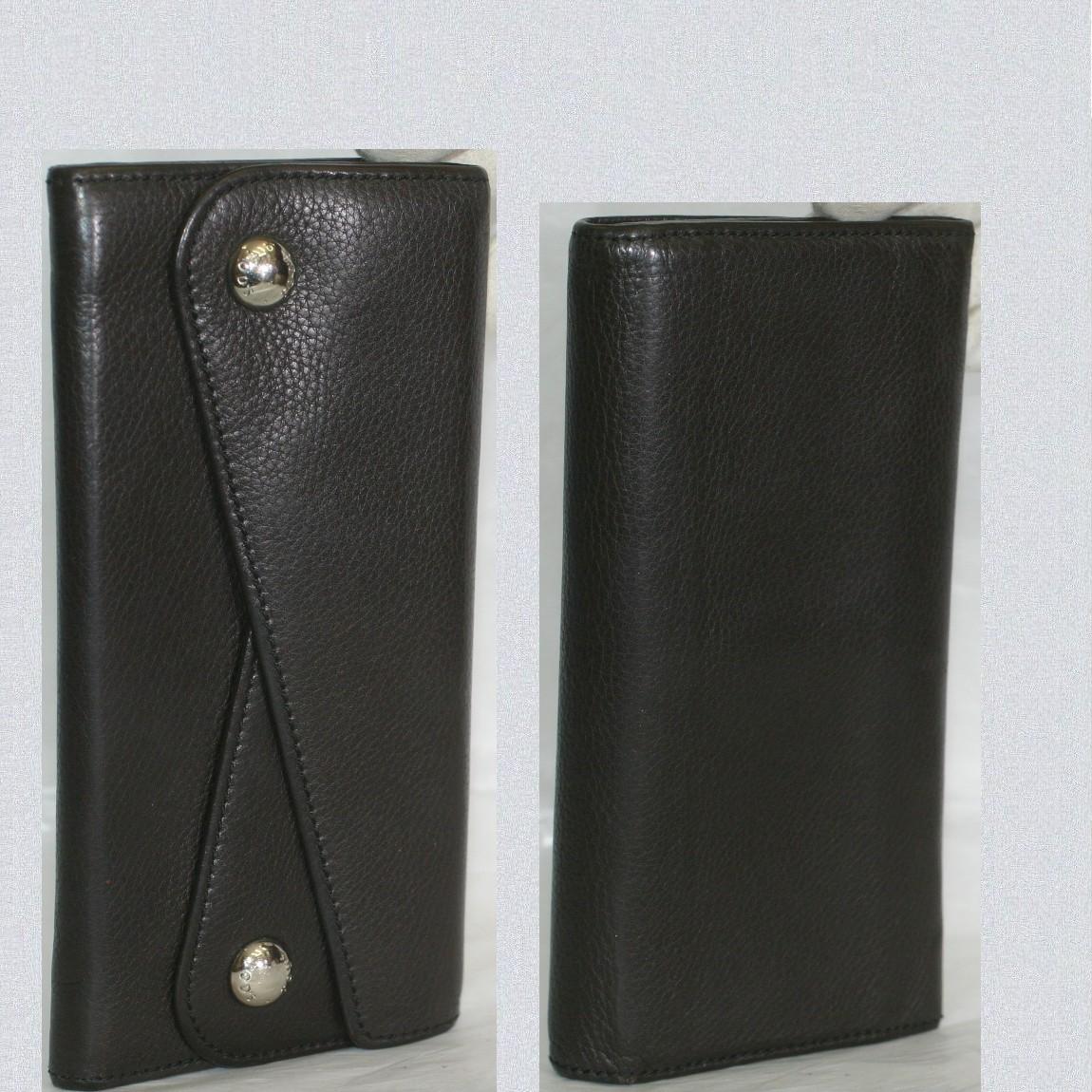 【中古】本物綺麗トッズ女性用焦げ茶色ボコボコした質感の革素材長財布 サイズW18,5H10D2,2cm