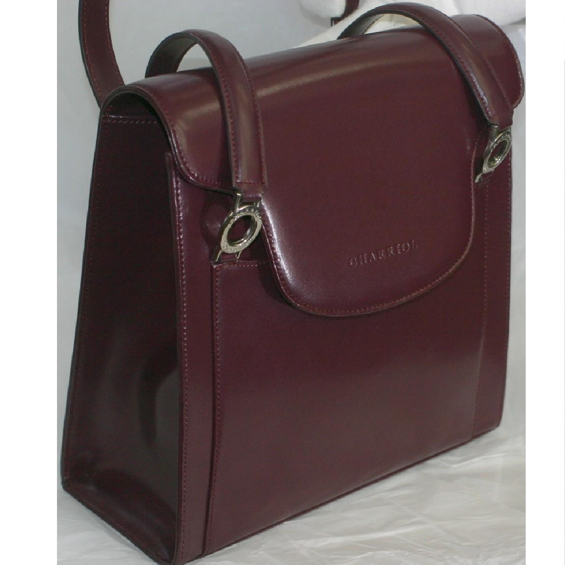 【中古】本物ほぼ新品フィリップシャリオール女性用綺麗なパープル色革素材お洒落なフォルムのショルダーバッグ サイズW23,5H25D10cmプレゼントに最適