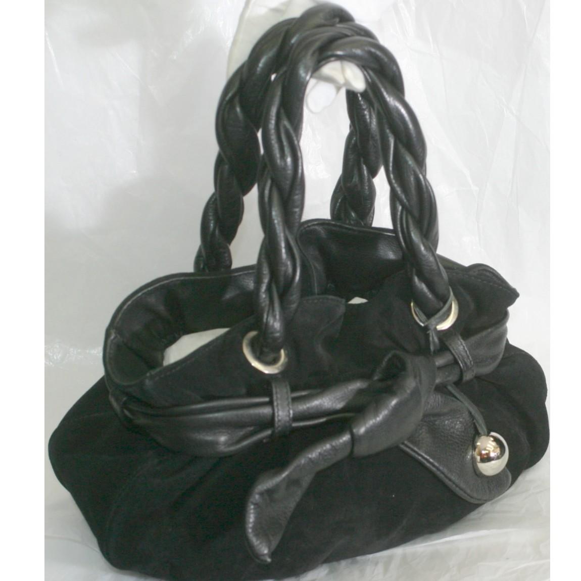 【中古】フルラ女性用黒いスエード素材のお洒落なフォルムのバッグ サイズW30H13D14cm