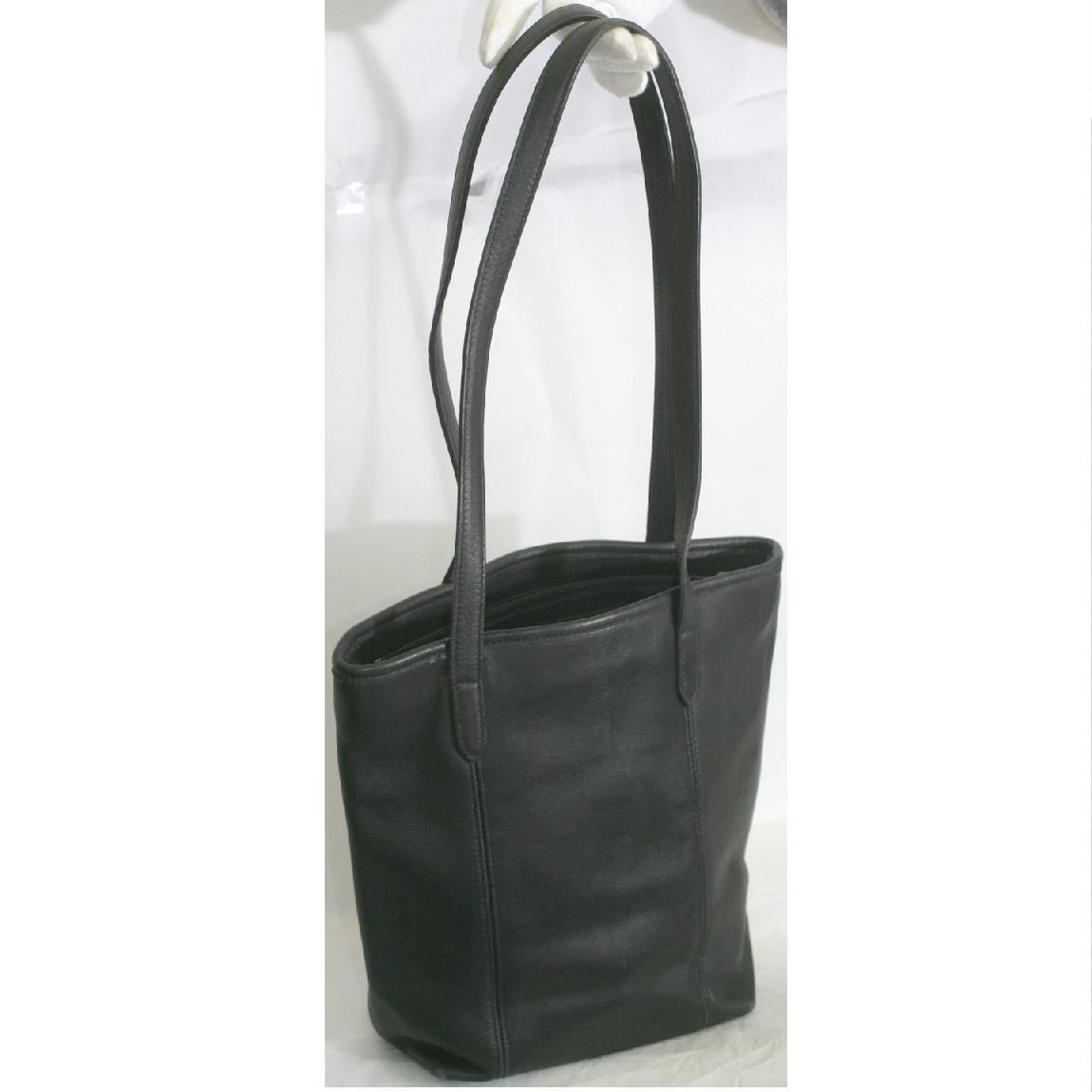 【中古】本物綺麗コーチ女性用黒い柔らかい革素材バケツ型トートバッグ9077 サイズW25H25D9cm