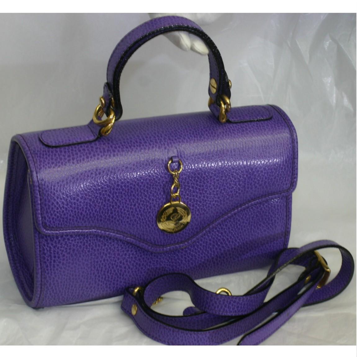 【中古】本物綺麗北海道ラベンダーパラダイスロゴマークの女性用綺麗な紫色革のバッグ取り外し可能なショルダーストラップ付 サイズW24H15D10,5cm