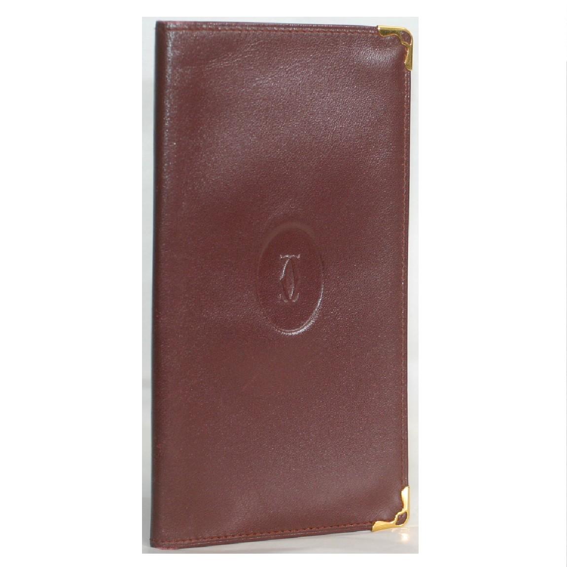【中古】本物可カルティエ紳士用ボルドー色革素材長財布 サイズW9H17,5cm