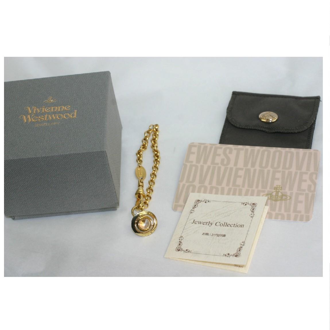 【中古】本物ほぼ新品ヴィヴィアンウエストウッドのプチオーブ金色メタル素材のブレスレット プレゼントに最適 ○D14-61