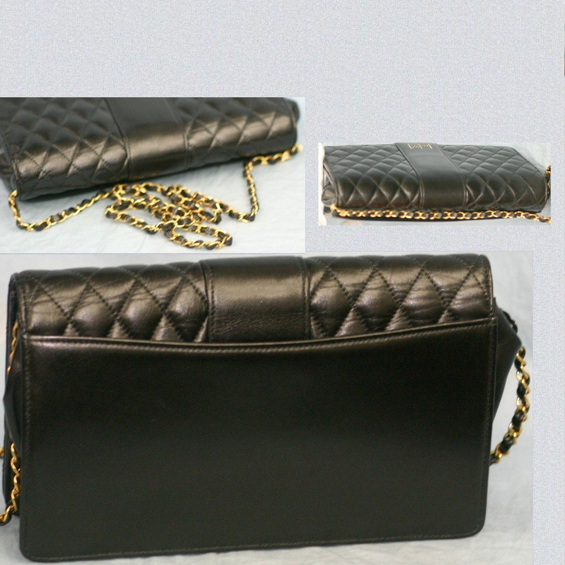 Real nice Hanae Mori for women 24 cm black leather quilted material with a shoulder clutch bag