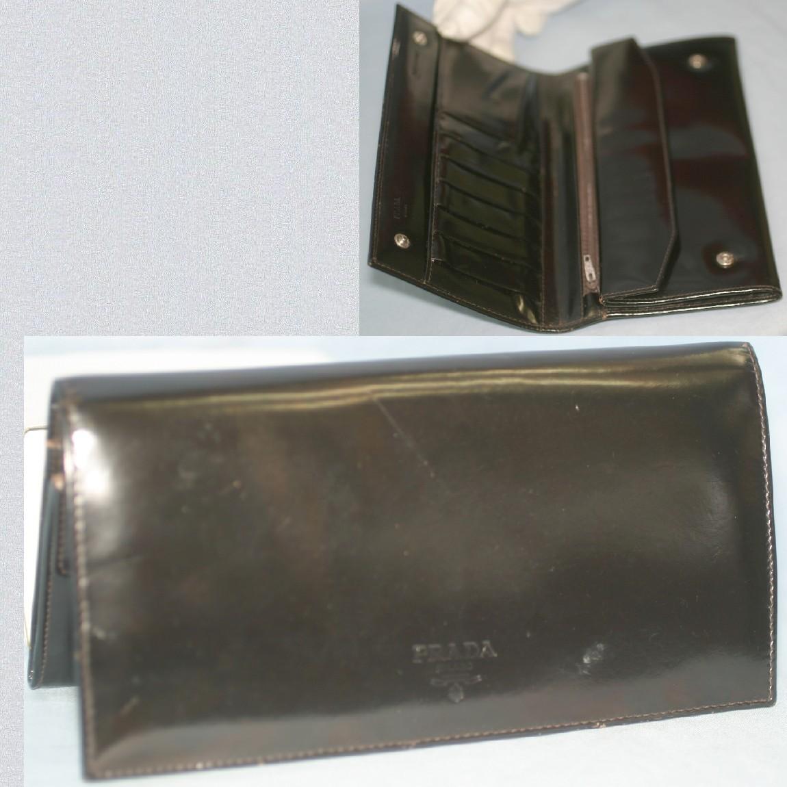 【中古】本物プラダ女性用黒いマスターカーフ素材21センチ大きめ財布カード用ポケット7個、ホック式小銭入れ、札入あり