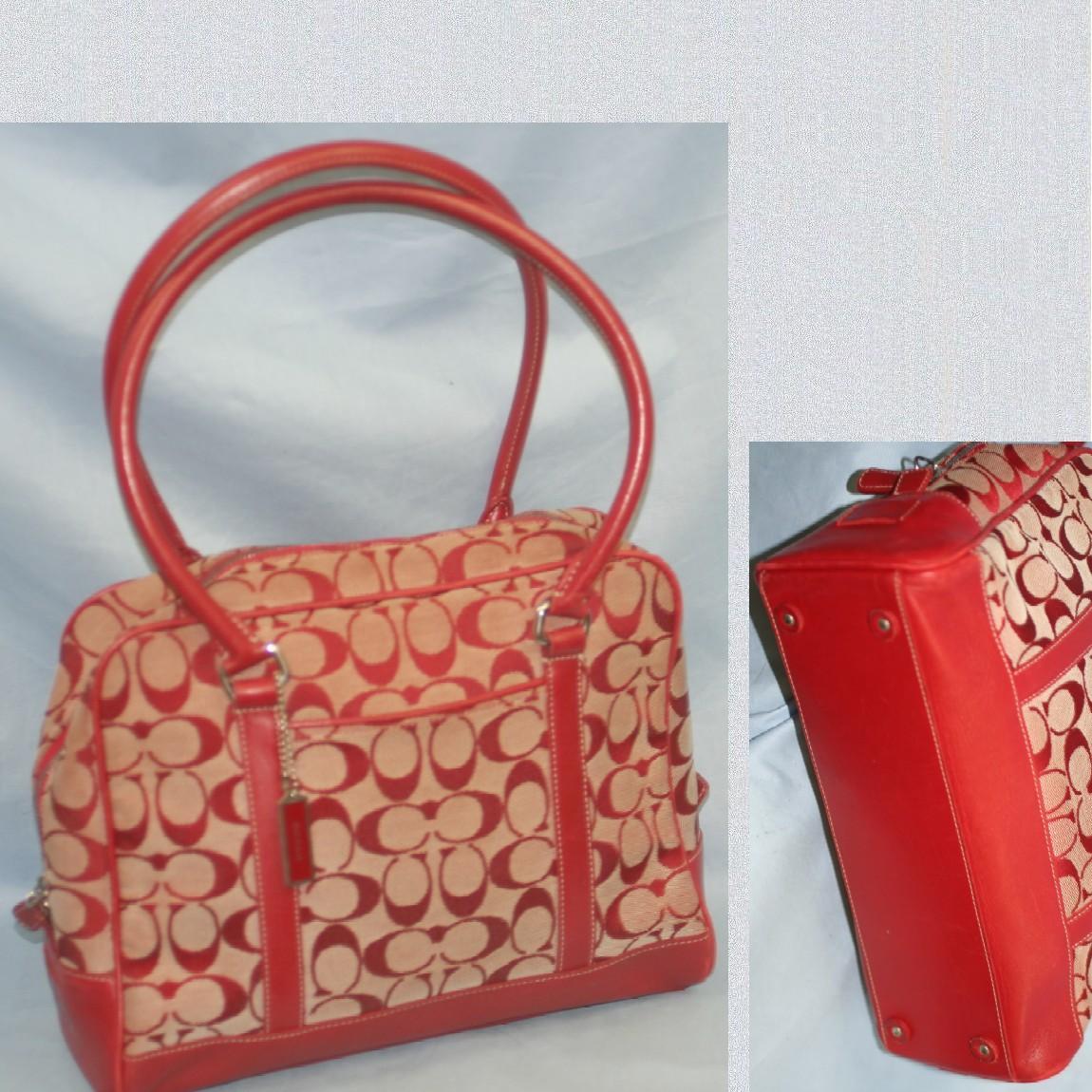 【中古】本物美品コーチ女性用赤キャンバスx革素材セミショルダートート6097