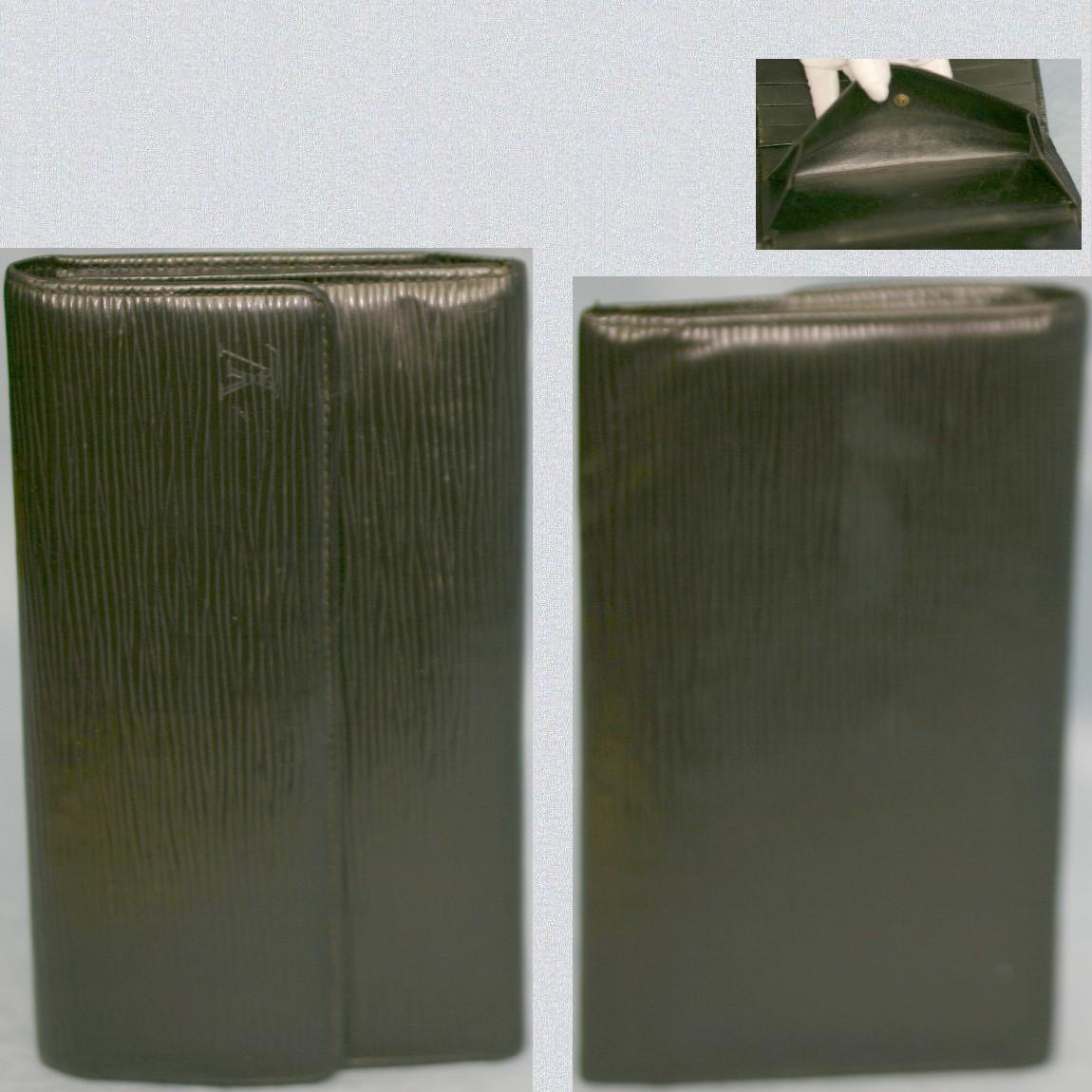 【中古】本物L/V女性用M63382エピの黒い3つ折長財布