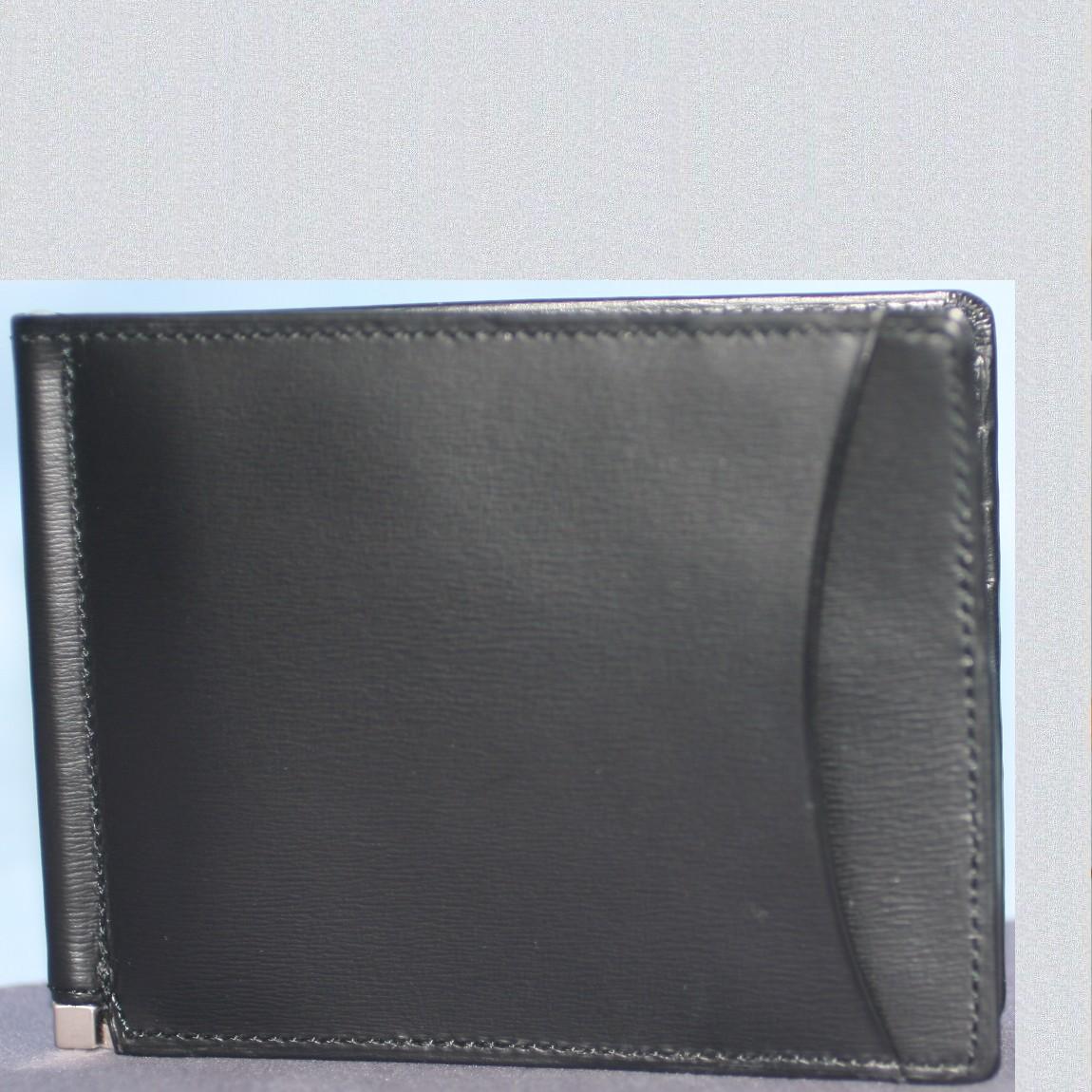 【中古】新品未使用二宮五郎作紳士用黒天然革素材2つ折札ばさみ式お財布プレゼントに最適