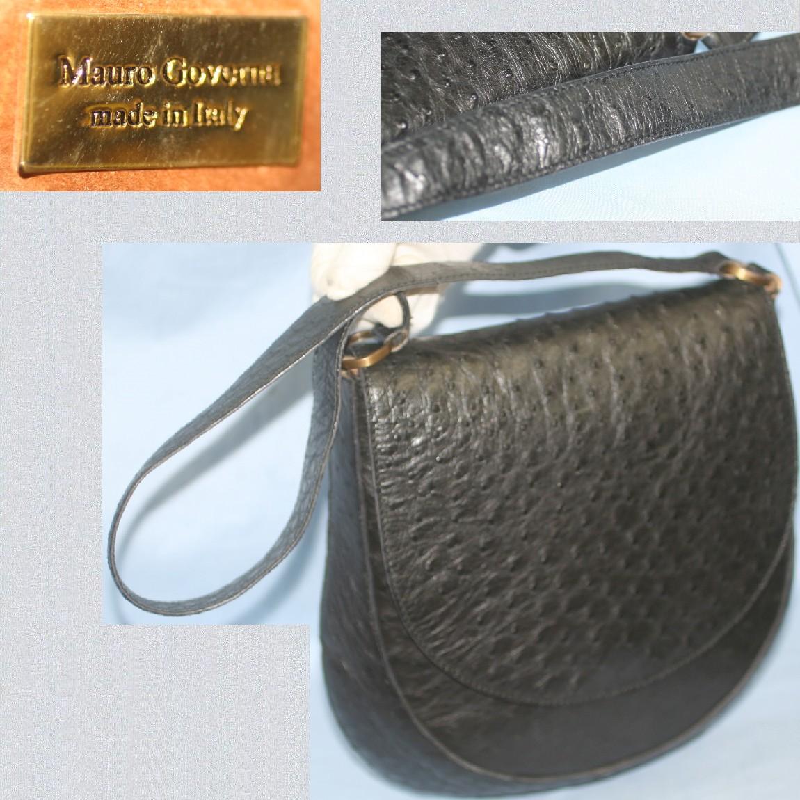 【中古】本物新品同様マウロ・ゴベルナ女性用黒オーストリッチ素材27x29センチお洒落なフォルムのセミショルダーバッグ