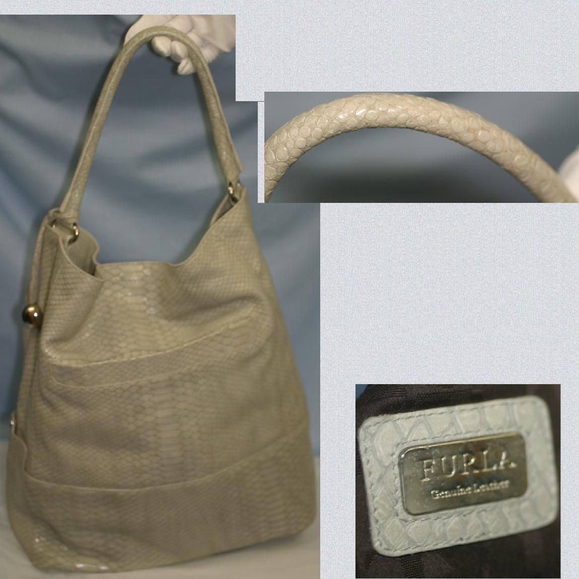 【中古】本物フルラ女性用蛇革模様型押し33x35センチトートバッグ
