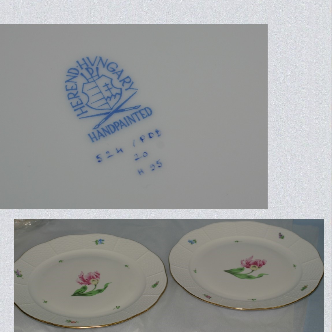 【中古】新品未使用へレンドハンガリー製可愛いチューリップの絵柄ハンドメイドの直径25,5センチの皿2枚セットバコニーの春