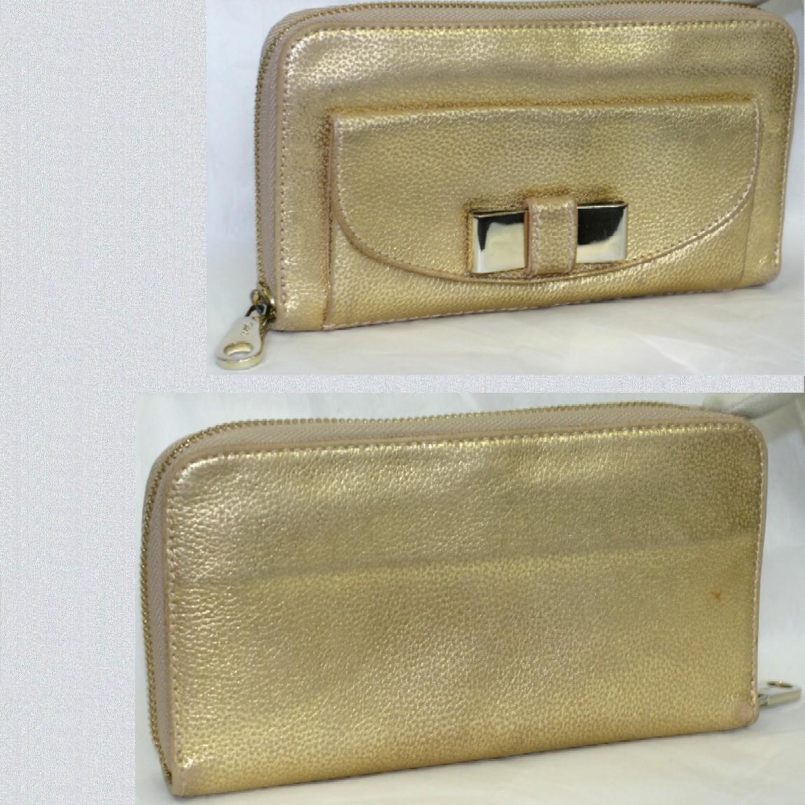 【中古】本物綺麗クロエ女性用ピンクゴールド色19x10,5x2,5cmラウンドファスナー長財布