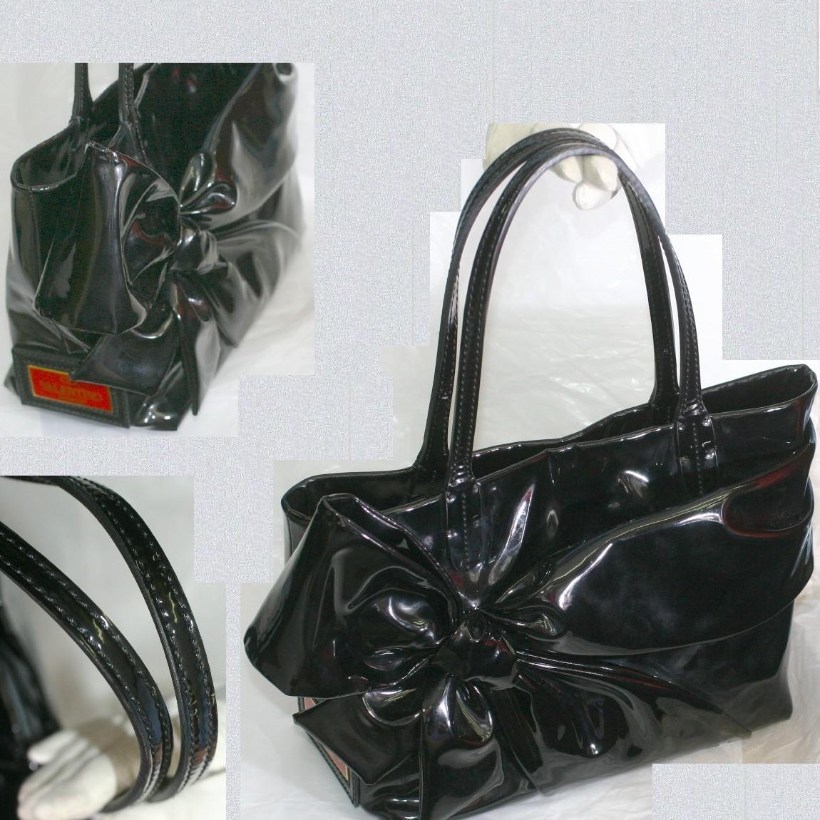 【中古】本物新品同様ヴァンレンティノガラバーニ女性用光り輝く綺麗な黒いエナメル素材大きいリボンが際立つトートバッグW31H20D12cm, 健康 美容雑貨 メイダイ:12b64e79 --- officewill.xsrv.jp