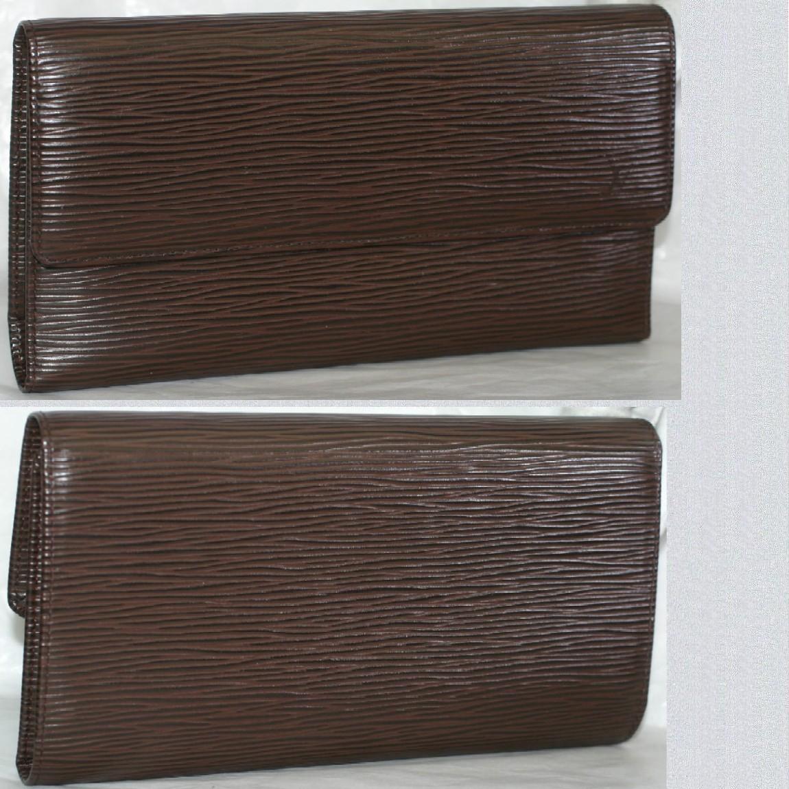 【中古】本物長期保管外側ほぼ新品L/Vエピの3つ折り長財布M6338Dモカ色札入部分に少し剥がれあります