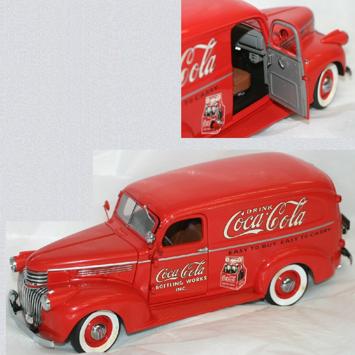 【中古】飾っていましたシボレーの1941年Coca-Colaコカコーラデリバリーモデル赤い車精密な作りサイズW21H7,8D7,7cm