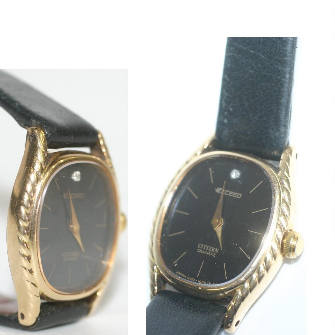 本物完動美品シチズンエクシード女性用k14金素材に文字盤にダイヤを埋め込んでいる時計4 105966y