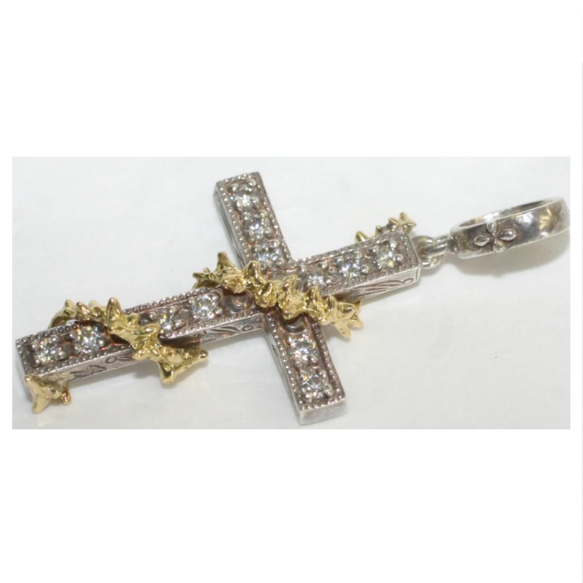 【中古】本物美品十字架(クロス)をモチーフにしたSV925シルバー素材にK10を鶴のような巻いたデザインでペンダントトップ