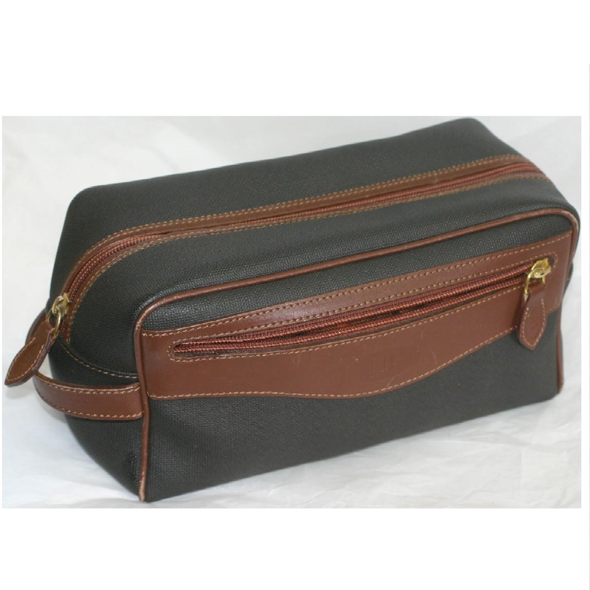 【中古】本物美品ダンヒル紳士用持ち手付縦長焦げ茶色ナイロンキャンバスx焦げ茶革セカンドバッグ