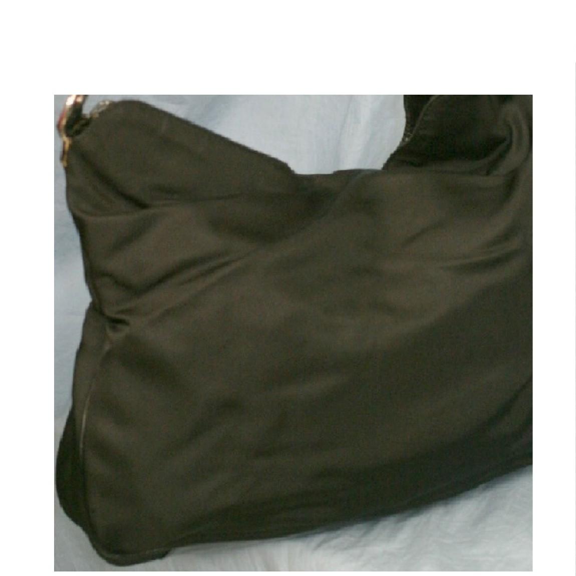 【中古】本物グッチバンブー持ち手38,5cm黒ナイロンx黒カーフホーボーバッグ