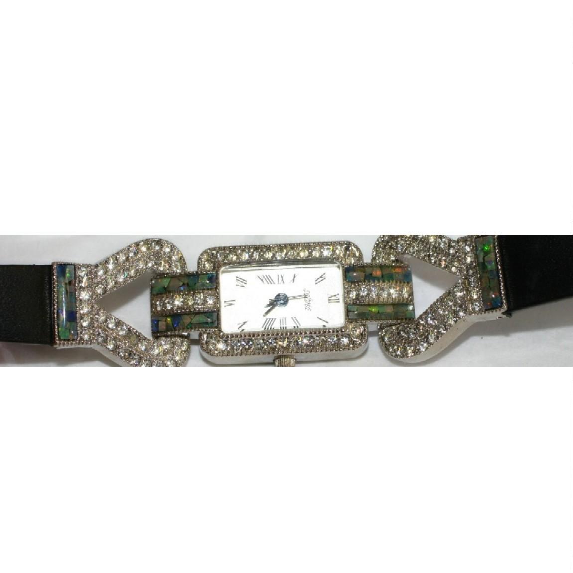 【中古】本物女性用SALVIAサルヴィアの宝飾時計全体に綺麗なラインストーン埋め込みオパールもついているHD184 1ヶ月保障つき 300205-5