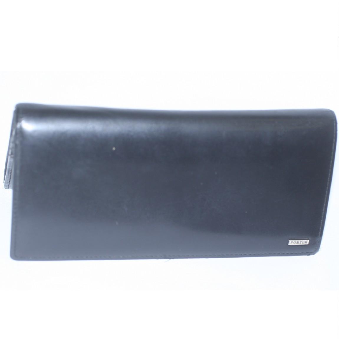 中古 本物ポーターのスムーズな黒い革素材の長財布 人気ショップが最安値挑戦 新色 サイズW19H10cm 2010504-2