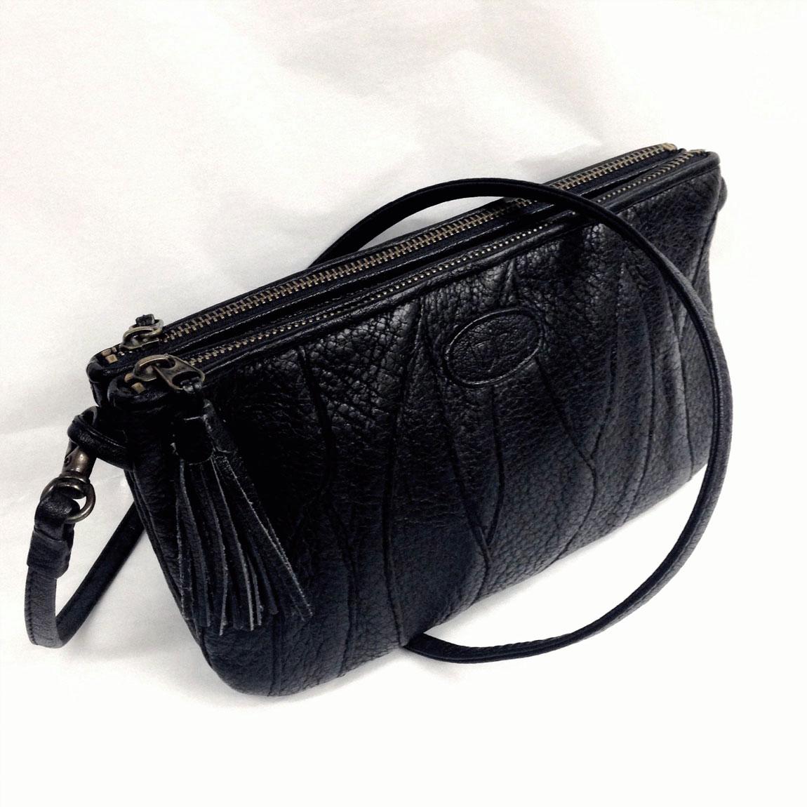 【中古】本物綺麗イビザ女性用23,5x13センチ黒柔らかいバッファロー革ショルダーポーチ