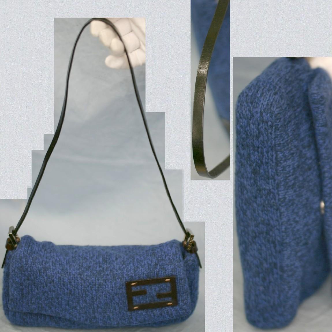 【中古】本物新品同様フェンディ女性用暖かい濃紺系ウール素材バゲットショルダー