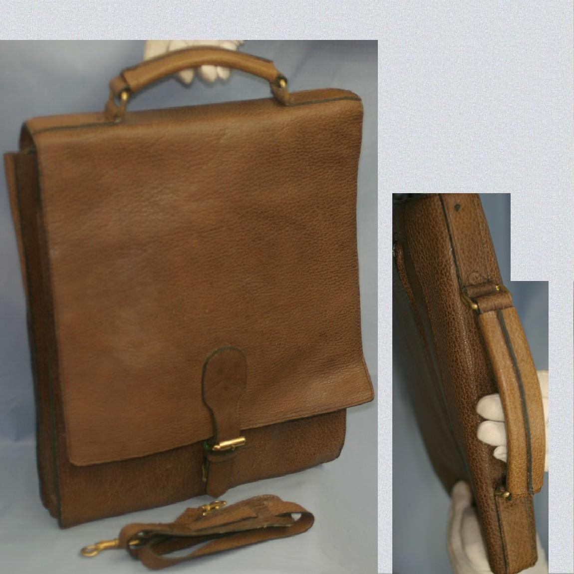 【中古】本物紳士用丈夫な厚い革素材縦長書類鞄ブリーフケース取り外し可能ショルダーストラップ付きタイ製