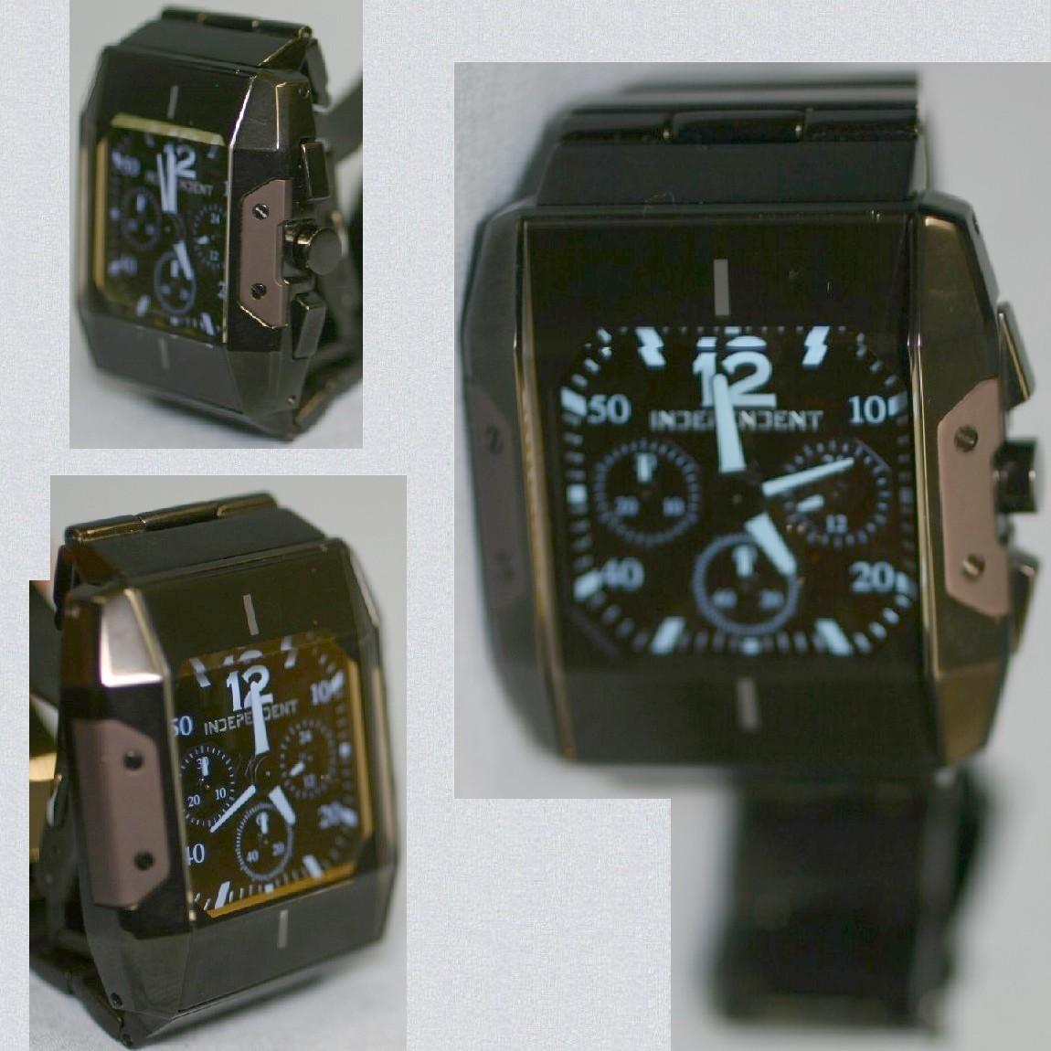 【中古】本物新品同様インデペンデント26250円紳士用ごついクロノの角時計