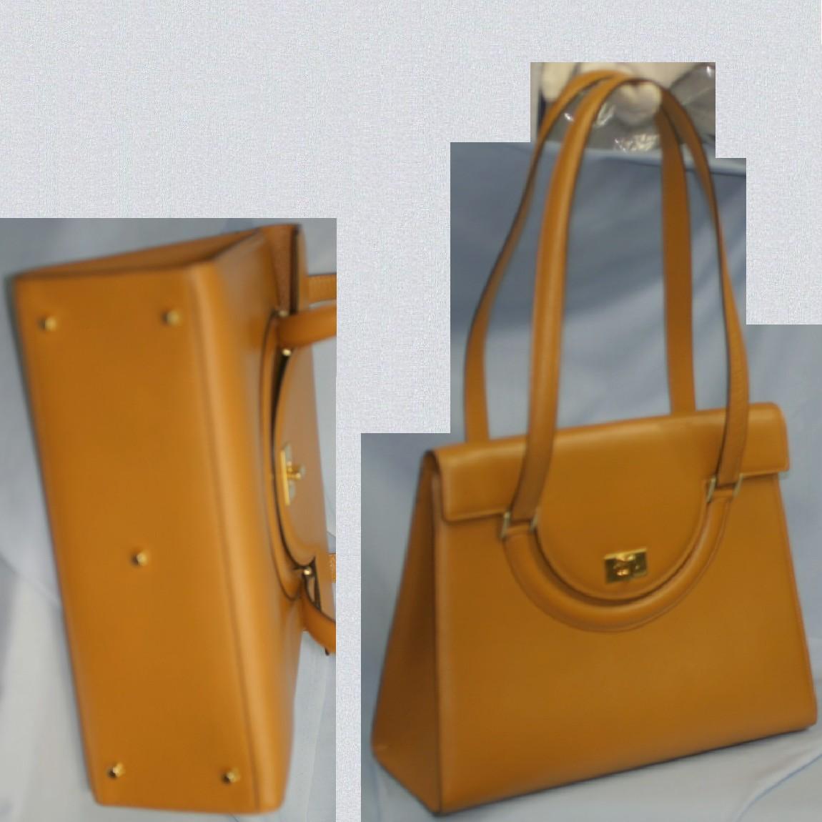 【中古】本物綺麗BALLYバリーの女性用キャメル色ボコボコした革31センチショルダーバッグ