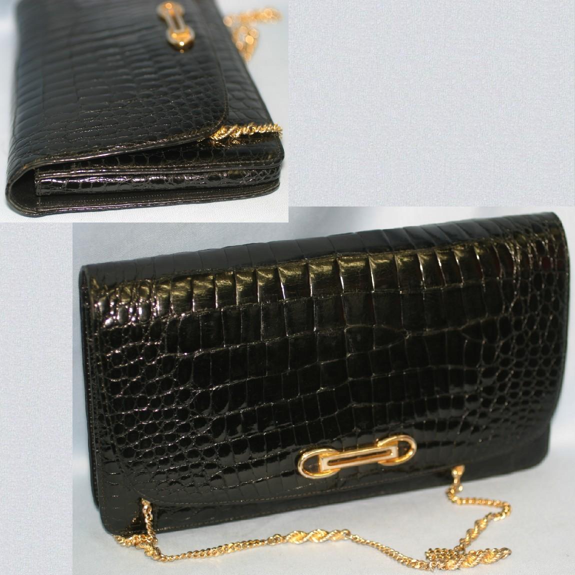 【中古】本物綺麗女性用黒クロコ素材金色チェ-ン付27センチクラッチバッグ