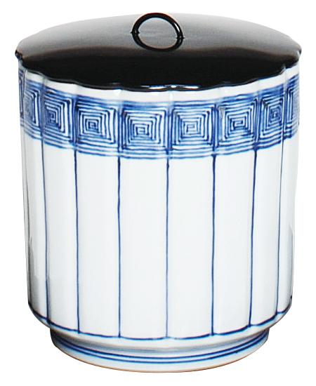 茶道具 染付 桶側 水指 裏千家 表千家 送料無料 御室窯 桐箱入り おけがわみずさし
