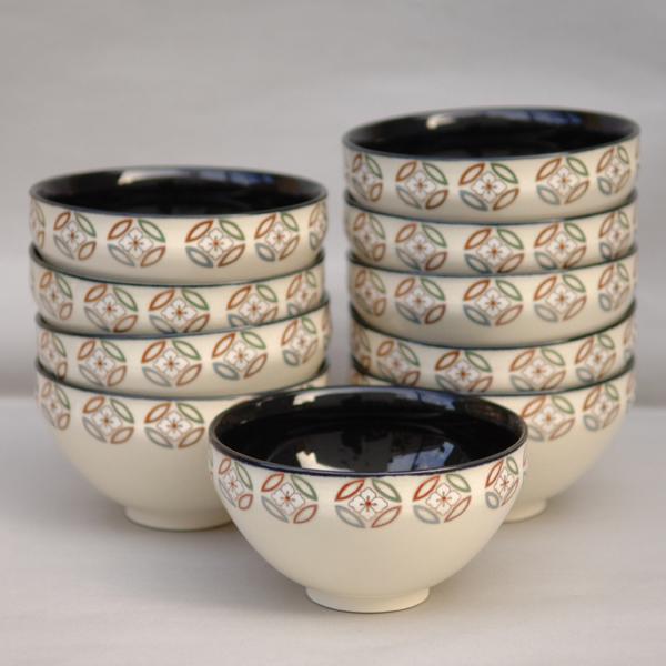 数茶碗 天目型七宝繋ぎ 中黒