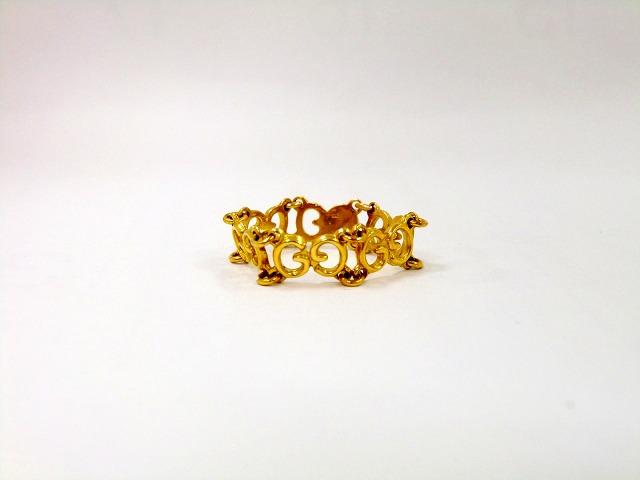 5d54e49d4 Gucci GUCCI GG logo chain ring YG Japan size 9.5 No. 750 ladies ring mesh  ...