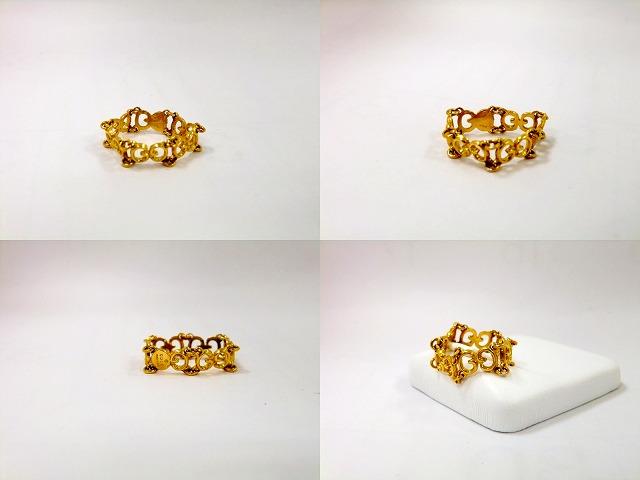 efce78818 750 ladies ring mesh; Gucci GUCCI GG logo chain ring YG Japan size 9.5 No. 750  ladies ring mesh