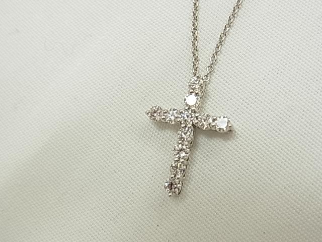 【送料無料】ティファニー PT950 ダイヤ クロスネックレス 十字架 レディース 【中古】【smtb-TD】