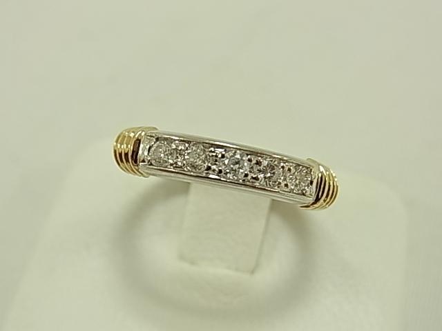 【送料無料】PT900/K18 ダイヤモンド合計0.20ct 一文字 デザインリング #10 3.5グラム 指輪【中古】