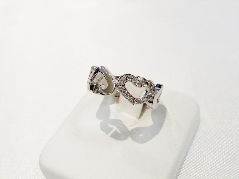 【送料無料】カルティエ Cartier Cハートダイヤリング #10.5WG(刻印51) ダイヤモンド K18WG 指輪【中古】【smtb-TD】