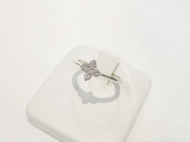 【送料無料】ミキモト MIKIMOTO K18 WG リング ダイヤ 5石 0.21ct #9 レディース 指輪 【新同品】【中古】