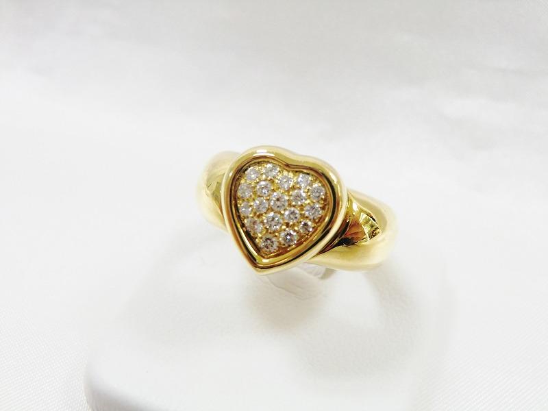 【送料無料!6ヶ月保証】ピアジェ Piaget ダイヤモンドリング YG ハートデザイン #10 パヴェダイヤ 指輪 K18 レディース 【中古】