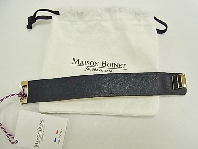 【送料無料】 メゾンボワネ MAISONBOINET 革 ブレスレット 95093G ブラック 幅25mm Mサイズ【未使用】【smtb-TD】