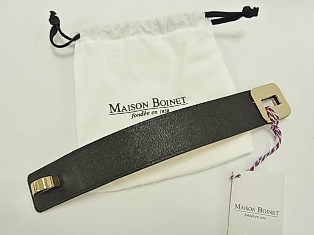 【送料無料】 メゾンボワネ MAISONBOINET 革 ブレスレット 幅広 ブラック 95017G Mサイズ【未使用】【smtb-TD】