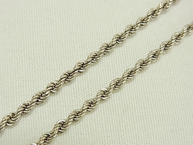 【送料無料】PT850 ロープチェーン ネックレス 43cm 4.2グラム アジャスターなし【中古】