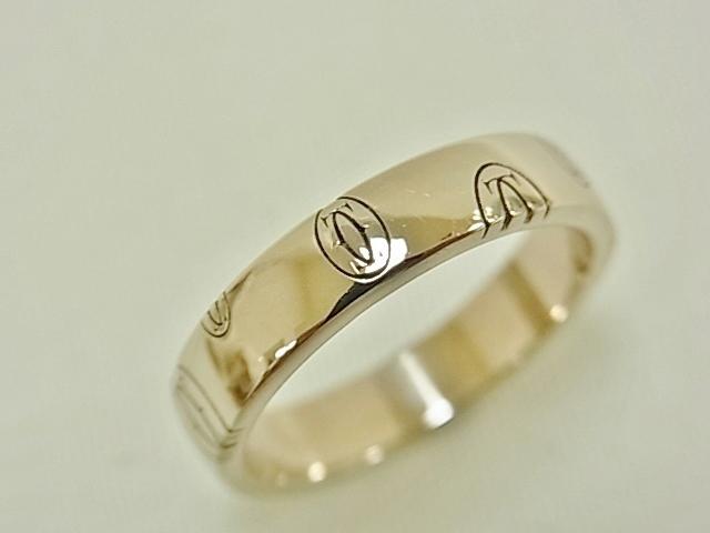 【送料無料】カルティエ ハッピーバースデーライン リング K18WG #50 4.8グラム 指輪【中古】