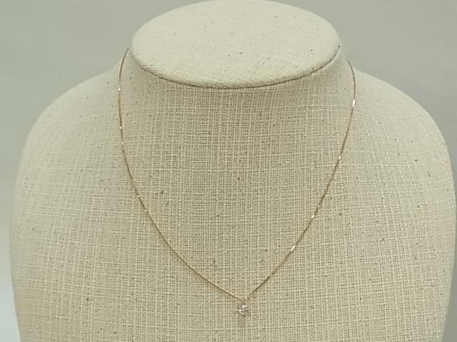 【送料無料】K18PG ダイヤモンド プチネックレス ダイヤ0.19ct ソーティングつき F、SI-2、G【中古】