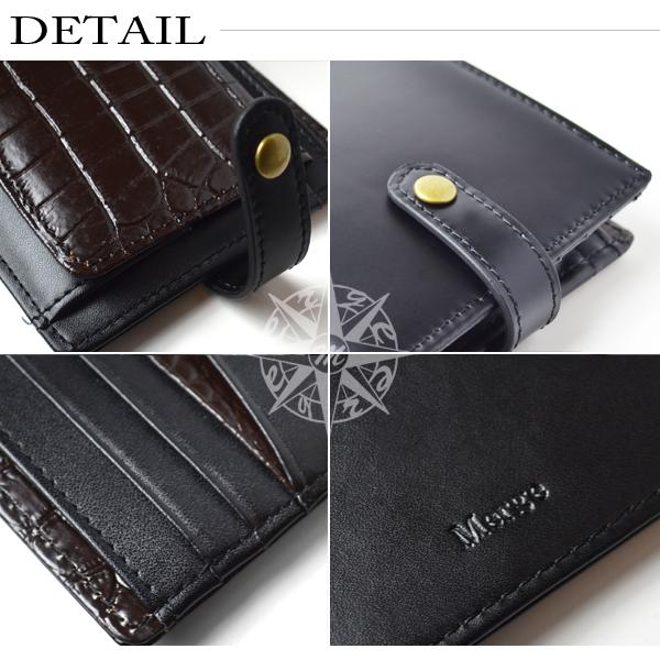 add9dc533237 二つ折り財布 メンズ 馬革 牛革 クロコ型押し スナップボタン式 Merge 【MG