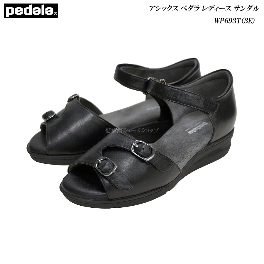アシックス/ペダラ/レディース/サンダル/靴/WP693T/WP-693T/ブラック/EEE/3E(ラウンド)/asics/pedala/