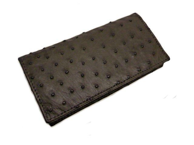 【新品特価】オーストリッチの長財布 ダークブラウン